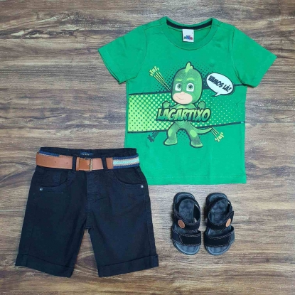 Camiseta Verde Lagartixo com Bermuda Preta Infantil