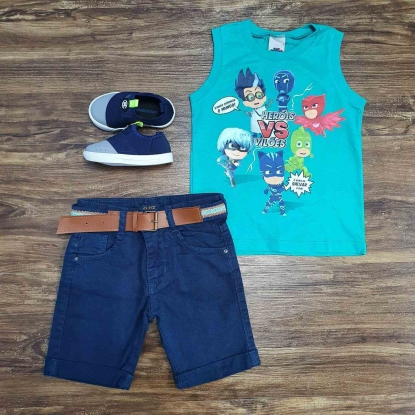 Regata Verde PJ Masks com Bermuda Azul Infantil