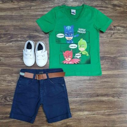 Camiseta Verde PJ Masks com Bermuda Infantil