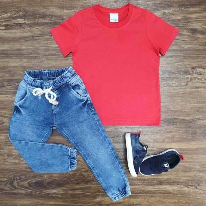 Camiseta Vermelha Básica com Calça Jogger Infantil