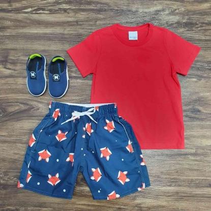 Camiseta Vermelha com Bermuda Tactel Raposa Infantil