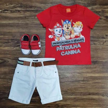 Camiseta Vermelha Patrulha Canina com Bermuda Branca Infantil