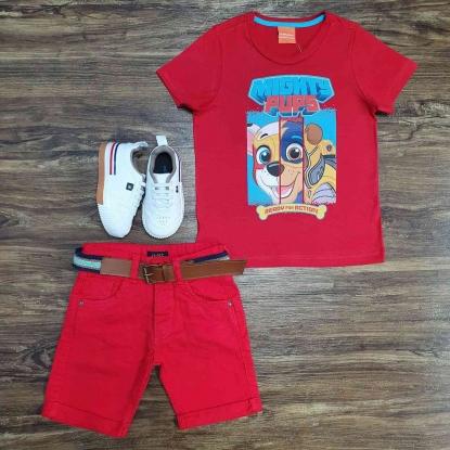 Camiseta Vermelha Patrulha com Bermuda Jeans Infantil