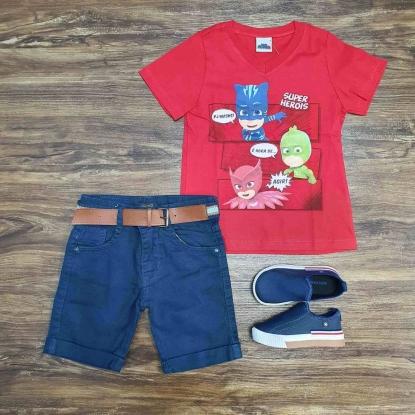 Camiseta Vermelha PJ Masks com Bermuda Azul Infantil