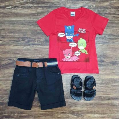 Camiseta Vermelha PJ Masks com Bermuda Preta Infantil