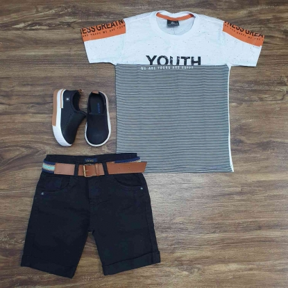 Camiseta Youth Branca com Bermuda Preta Infantil
