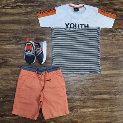 Camiseta Youth com Bermuda Laranja Infantil
