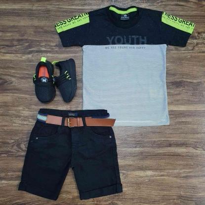Camiseta Youth com Bermuda Preta Infantil