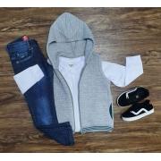 Colete Cinza com Camiseta e Calça Jeans Infantil