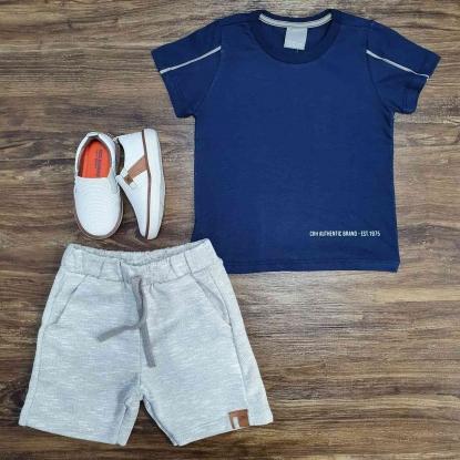Conjunto 1975 com Camiseta Azul e Bermuda Cinza Infantil