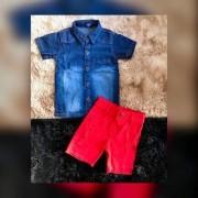 Conjunto Camisa Jeans e Bermuda Vermelha