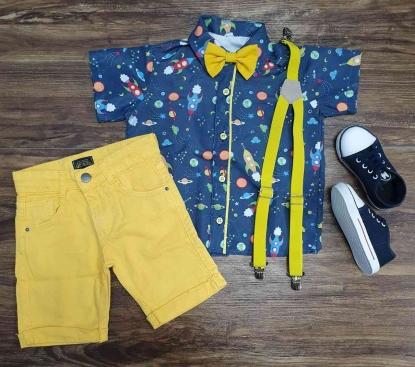 Conjunto Amarelo Astronauta Space Infantil