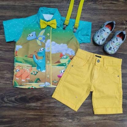 Conjunto Amarelo Dino Baby Infantil