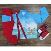 Conjunto Calça Arca de Nóe Vermelho Infantil