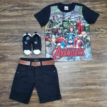 Conjunto Avengers Com Bermuda Preta Infantil