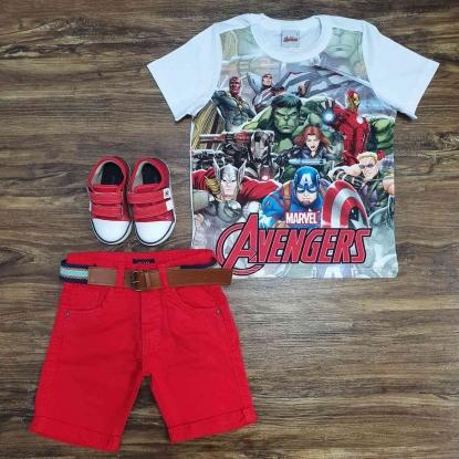 Conjunto Avengers Com Bermuda Vermelha Infantil