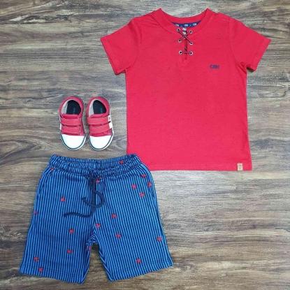 Conjunto Bata Vermelha com Bermuda Azul Infantil