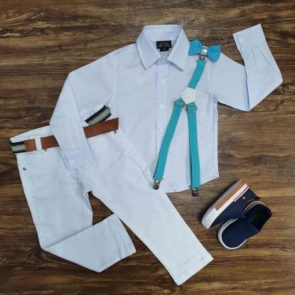 Conjunto Batizado Branco com Suspensório e Gravata Tiffany Infantil