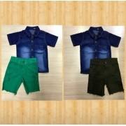 Conjunto Bermuda Jeans Colors e Camisa Jeans