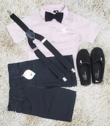 Conjunto Bermuda Preta com Suspensório e Camisa com Gravata Preta