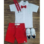 Conjunto Bermuda Vermelha infantil