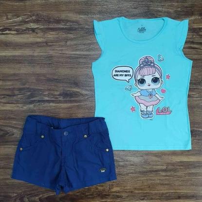 Conjunto Blusinha Lol com Shorts Azul