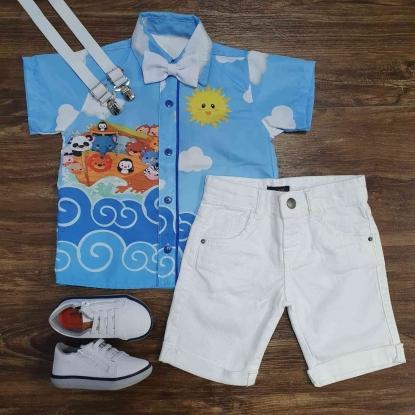 Conjunto Branco Arca de Noé Azul Infantil