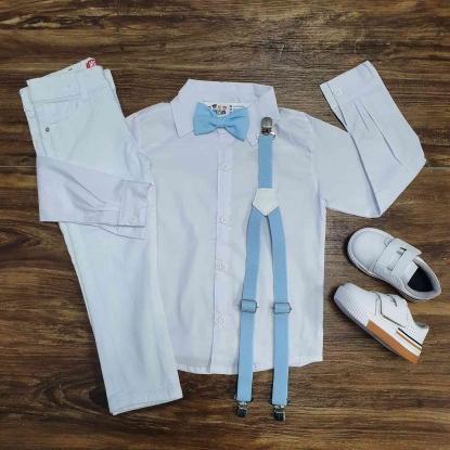 Conjunto Branco Calça Batizado Azul Infantil