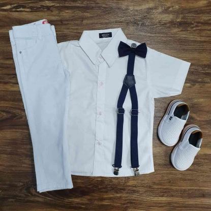 Conjunto Branco Calça Batizado Marinho Infantil