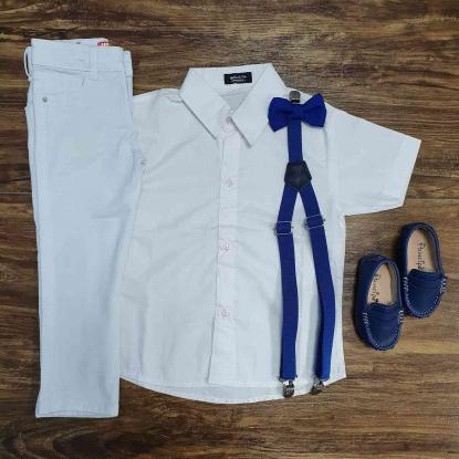Conjunto Branco Calça Batizado Royal Infantil