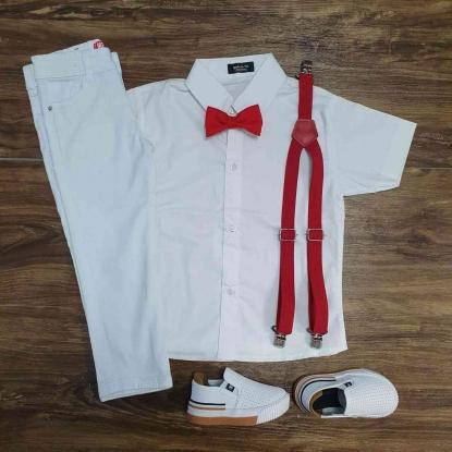 Conjunto Branco Calça Batizado Vermelho Infantil