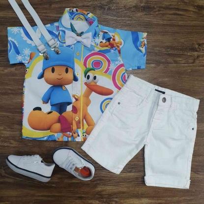 Conjunto Branco Pocoyo Azul Infantil