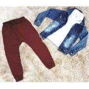 Conjunto Calça Moletom com Polo e Jaqueta Jeans