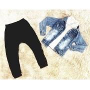 Conjunto Calça Moletom com Polo mais Jaqueta Jeans