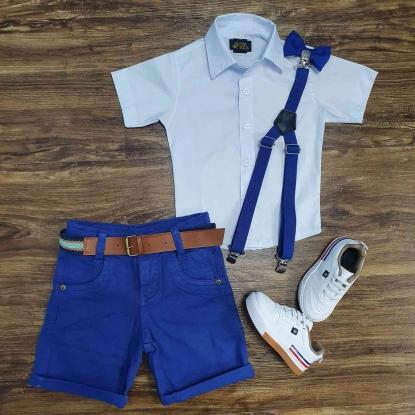 Conjunto Camisa Branca com Bermuda Royal Infantil