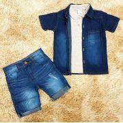 Conjunto Camisa Jeans com Bermuda Jeans e Polo Cinza