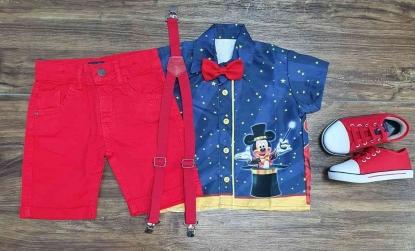 Conjunto Camisa Mickey Mágico Vermelho Infantil