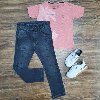 Conjunto Camiseta Above com Calça Jeans Escura Infantil