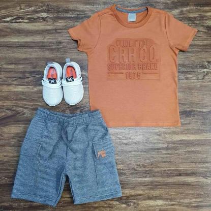 Conjunto Camiseta Caramelo com Bermuda Cinza Infantil