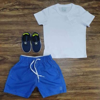 Conjunto Camiseta com Bermuda Azul Água Infantil