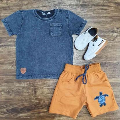 Conjunto Camiseta com Bermuda Caramelo Infantil