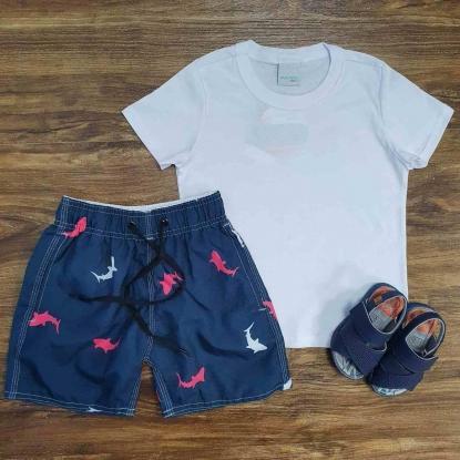 Conjunto Camiseta com Bermuda Tubarão Infantil