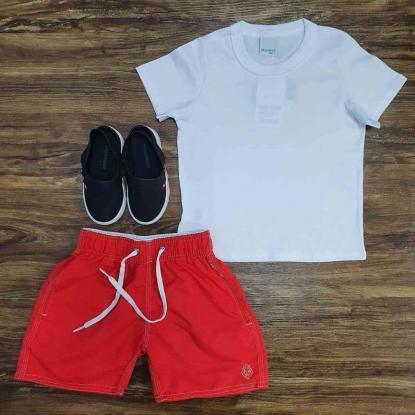 Conjunto Camiseta com Bermuda Vermelha Água Infantil