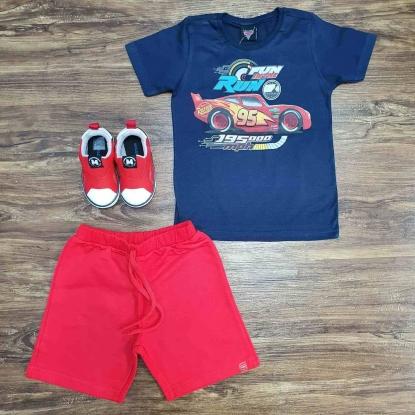 Conjunto Carros 95 com Camiseta Azul Infantil