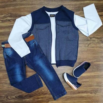 Conjunto Colete Azul com Camiseta e Calça Jeans Infantil