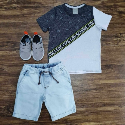 Conjunto College com Bermuda Jeans Infantil