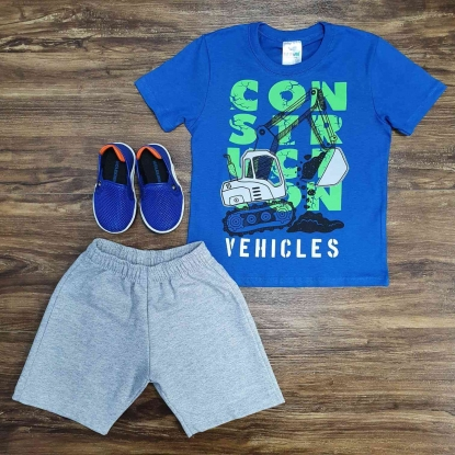 Conjunto Construção com Camiseta Azul Infantil