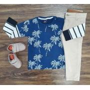 Camiseta Coqueiros com Calça Jeans Infantil