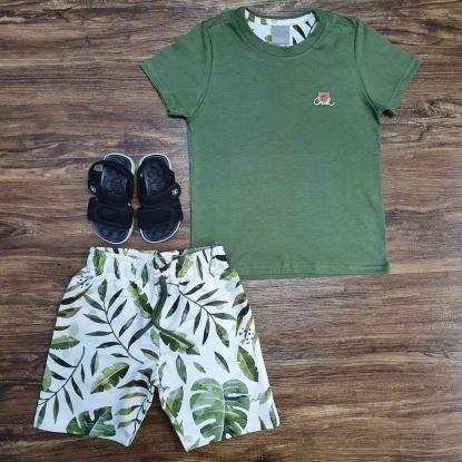 Conjunto CRH Floral com Camiseta Verde Infantil