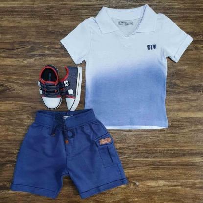 Conjunto Degradê com Bermuda Azul Infantil